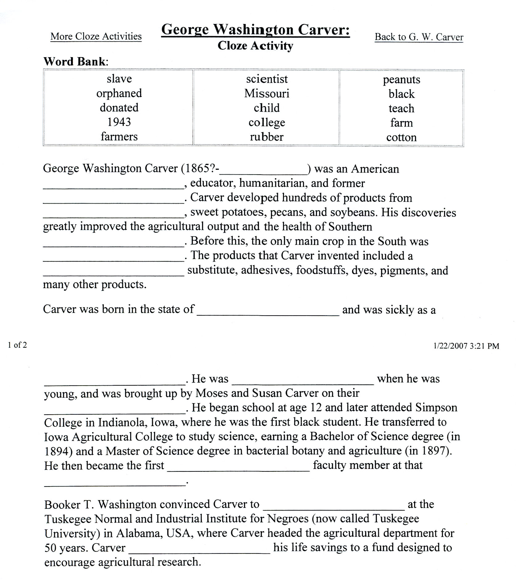 george washington carver worksheet vintagegrn george washington carver printables instructional design